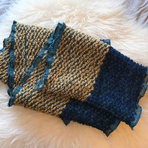 Accessories - Large European Infinity Scarf Textured Yellow Blue